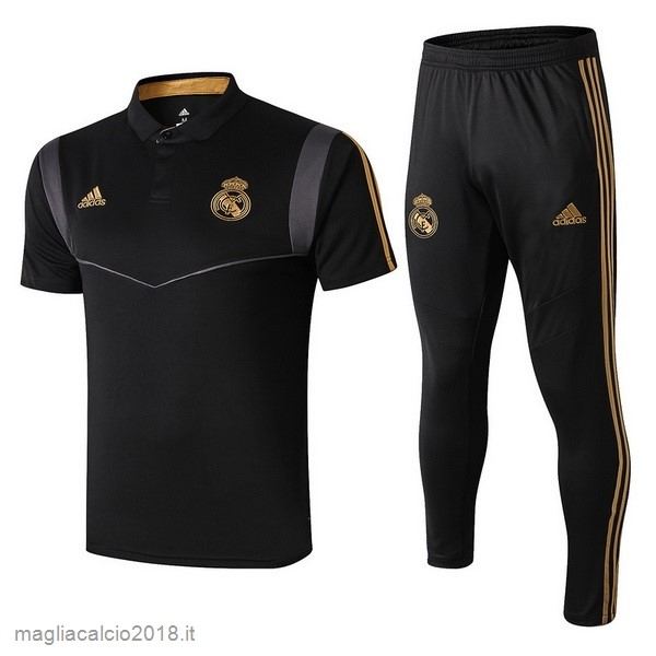 Set Completo Polo Real Madrid 2019 2020 Nero Grigio
