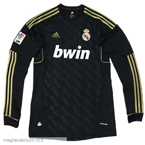 Away Manica lunga Real Madrid Retro 11 12 Nero