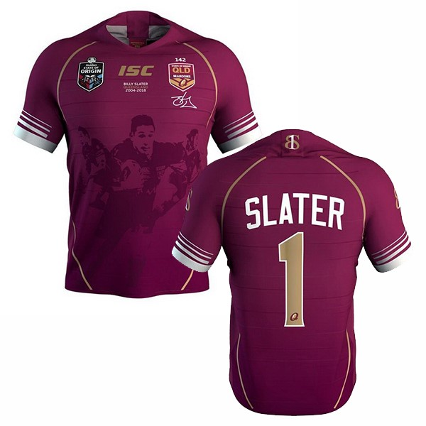 NO.2 Slater Rugby Maglia QLD Maroons 2018 Rosso